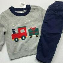 Nwt Baby Gap Boys 3-6 Months Gray Holiday Train Sweater & Euc Blue Pants Outfit Photo