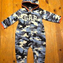Nwt Baby Gap Boys Fleece Hoodie Logo One-Piece Blue Camouflage    6-12m 12 Photo