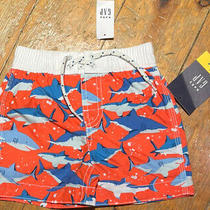 Nwt Baby Gap Boys Orange Sharks Swimsuit Swim Trunks 12-18m 18 Photo