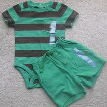 Nwt Baby Gap Boys Outfit Green Brown Striped Bodysuit Knit Shorts 6-12 Months  Photo