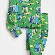 Nwt Baby Gap Boys Pajamas Pjs Green Construction Buildings Trucks  3t 3 Photo
