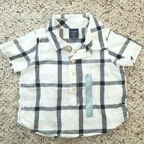 Nwt Baby Gap Boys White Blue Plaid Short Sleeve Button Down Shirt Sz 0-3m Photo