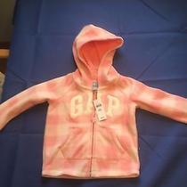Nwt Baby Gap Embroidered Logo Fleece Hoodie Jacket Soft Pink Plaid Zipper Size 3 Photo