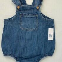 Nwt Baby Gap Girls 12-18 Months Blue Denim Bubble Romper Overalls  Photo