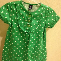 Nwt Baby Gap Girls Dress Green With Polka Dots 2 Photo