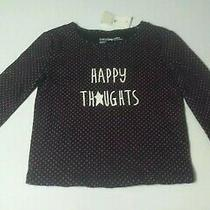 Nwt Baby Gap Girls Long Sleeve Blue Blue & Pink T-Shirt Happy Thoughts 12-18m Photo