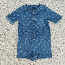 Nwt Baby Gap Girls Short Sleeve Light Denim Floral Rompers W/ Pockets Sz 2t Photo