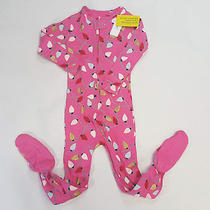 Nwt Baby Gap Girls Size 3t 4t or 5t Pink Christmas Lights Zip Footed Pajamas Pjs Photo