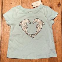 Nwt Baby Gap Girls T Shirt Aqua Sea Green Blue Dolphin Heart 18-24m 24 Photo