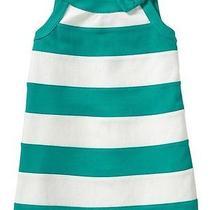 Nwt Baby Gap Girls Villa Oasis Mirage Green & White Bow Dress Size 5 Photo