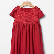 Nwt Baby Gap Modern Red Rosette Embroidered Jersey Dress 60% Cotton 40% Modal Photo