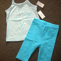 Nwt Baby Gap Seashell Starfish Tank Top & Capri Pants/leggings 2t Aqua Blue Photo