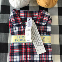 Nwt Baby Gap Toddler 2t Red Blue Plaid Cotton 2-Piece Pants Pajamas Photo
