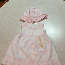 Nwt Baby Gap White With Pink Pin Stripes Dress & Hat Size 3-6 & 6-12 Photo