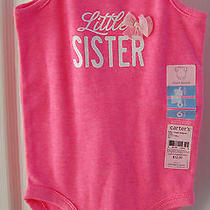 Nwt Baby Girls Carter's Size 6 Months Pink Sparkle Little Sister Bodysuit  Photo