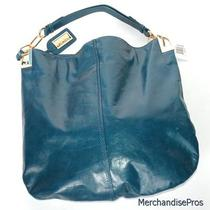 Nwt Badgley Mischka Leather Gaia Hobo Indigo Handbag  New  325 Msrp Photo