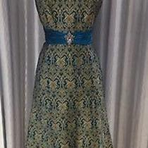 Nwt Badgley Mischka Turquoise/gold Cocktail/work Dress Size 8 Only Dress Photo