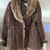 Nwt Bagatelle Womens Suede Coat Faux Fur Trim Lined Large Photo