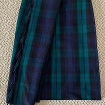Nwt Balenciaga Green Navy Tartan Check Fringed Scarf Wool Wrap Skirt 36 4 1750 Photo