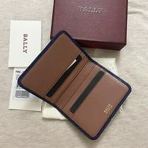 Nwt Bally Folding Cardholder Case Blue/pink Bi-Color Calf Leather 225 Photo