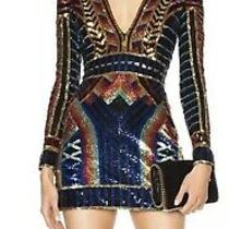 Nwt Balmain Multicolor Sequin v-Neck Long Sleeve Mini Dress Size 38 Sold Out 5k Photo