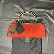 Nwt Balmain X h&m Red Suede With Gold Harware Clutch Photo