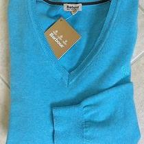 Nwt Barbour Aqua Womens Pima Cotton v-Neck Sweater - 10(us)/14(uk) Photo