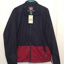 Nwt Barbour Bollen Casual Full Zip Jacket. Size L. Navy Blue W/ Red Photo