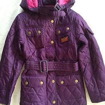 Nwt Barbour International Kids Purple Quilted Barn Jacket With Belt Size 6/7 Photo