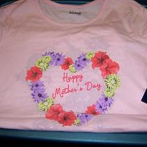 Nwt Basic Editions Mother's Day Glittery S/s Pink Top Size Medium Photo