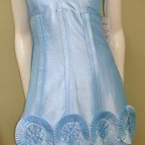 Nwt Basix Ii Pale Blue Taffeta Corset Top Rosette Dress 2 Photo