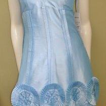 Nwt Basix Ii Pale Blue Taffeta Corset Top Rosette Dress 2 Photo
