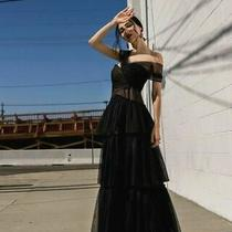 Nwt Bcbg Max Azria Triple Tiered Tulle Gown Black  Size 8 498.00 Photo