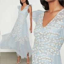 Nwt Bcbg Maxazria Embroidered Tulle Ruffle Dress Gown Light Crystal Blue Size 0 Photo