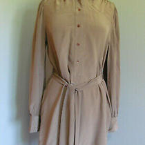 Nwt Bcbg Maxazria Light Brown 100% Silk Long Sleeve 3/4 Buttons Dress Size M  Photo