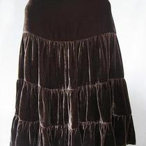 Nwt Bcbg Maxazria Mahogany Brown Tiered Velour Skirt 8 Photo