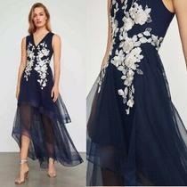 Nwt Bcbg Maxazria Metallic Lace Applique Gown Dress Dark Navy Size 2 Photo