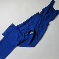 Nwt Bcbg Maxazria Rossana in Royal Blue Satin Wide Leg Cutout Jumpsuit 6 X 32 Photo