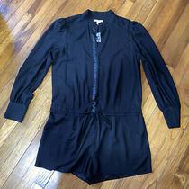 Nwt Bcbgeneration Black Long Sleeve Dressy Romper Shorts Anthropologie Size 12 Photo