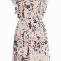 Nwt Bcbgmaxazria Shelia Flutter Sleeve Printed Dress Peach/blush Size 10 Photo