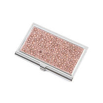 Nwt Beautiful Rose Gold Rhinestones & Chrome Business Card Holder Photo