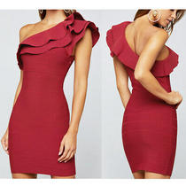 Nwt Bebe 159 One Shoulder Ruffle Bandage Dress Red Dahlia Bodycon Small S 2 4 6 Photo