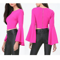 Nwt Bebe 79 Hot Pink Bell Sleeve Crop Top Shirt Radiant Orchid Size 2 Xsmall Xs Photo
