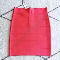 Nwt Bebe 79 Solid Bandage Skirt Bodycon Mini Coral Red Hot Pink Xsmall Xs 0 2 Photo