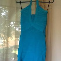 Nwt  Bebe Bandage   Halter Deep Plunge Dress  Xs Aqua Turquoise Color  Soldout Photo