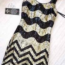 Nwt Bebe Black Gold Sequin Dress Chevron Zig Zag Cocktail Formal Striped Short Photo