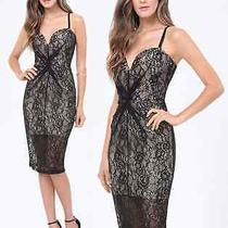 Nwt Bebe Black Lace Nude Straps Lingerie Plunge Bustier Midi Top Dress M 6 Sexy Photo