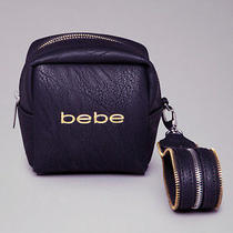 Nwt Bebe Black Logo Wrist Bag Wristlet Clutch  Photo