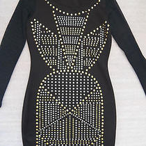 Nwt Bebe Black See Through Long Sleeve Mesh Stud Bodycon Skirt Top Dress S Sexy Photo