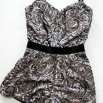 Nwt Bebe Black Silver Charcoal Straps Overall Sequins Top Dress Romper S Small Photo
